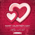 Red background with two valentine hearts and wish wishes text vector illustration Royalty Free Stock Photos