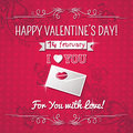 Red background with valentine heart and wishes tex text vector illustration Stock Photography