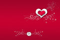 Red background valentine s day heart in the flowers work Stock Photos