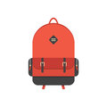 Red backpack isolated on white background