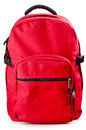 Red backpack standing on white background Stock Photography
