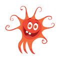 Red Bacteria Cartoon Vector Character Icon