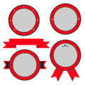 Red  badge and label set with ribbon and stars. Empty templates. Royalty Free Stock Photo