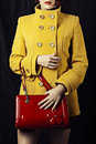 Red bag and fashion yellow coat Royalty Free Stock Photography