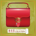 Red bag with gemstones and key collection label Royalty Free Stock Photography