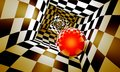 Red ball in a chess tunnel. Predetermination. The space and time Royalty Free Stock Photo