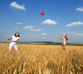 Red ball in game. Royalty Free Stock Photo
