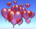Red ballon hearts floating under blue sky d rendering Royalty Free Stock Image