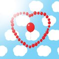 Red balloon heart in the sky Royalty Free Stock Photos