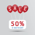 Red Balloon sale with discounts paper poster concept icons