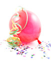 Red balloon and streamers confetti over white background Royalty Free Stock Image