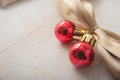 Red balls and gold ribbon Royalty Free Stock Photo