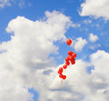 Red baloons in the sky Royalty Free Stock Images