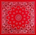 Red bandana print a pattern of black and white printed on fabric Stock Image
