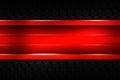 Red banner on black carbon fiber hexagon.