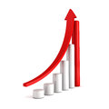 Red bar chart business growth with rising up arrow sccess concept d render illustration Stock Photo