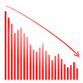 Red bar graph and bright financial Stock Image