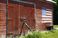 Red Barn, American Flag Stock Image