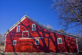 Red barn blue sky historic ratzlaff at kauffman museum north newton kansas Stock Photography