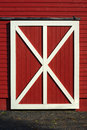 Red barn door white plank wooden pattern Royalty Free Stock Photo