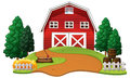 Red barn in the farm