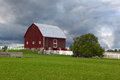 Red barn on the farm in michigan landscape Royalty Free Stock Photography