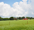 Red barn in pasture cumunlonimbus clouds over green with Stock Images