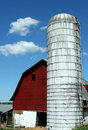Red barn and silo Royalty Free Stock Photo