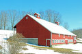 Red barn in snow upstate NY Royalty Free Stock Photo