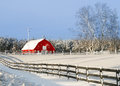 Red Barn in Winter Royalty Free Stock Images
