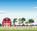 A red barnhouse inside the fence illustration of Stock Photos