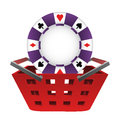 Red basket shopping with poker chip vector illustration Stock Photos