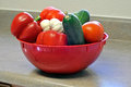 Red basket with various vegetables Royalty Free Stock Photo