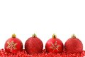Red baubles Christmas background Stock Photos