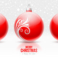 Red baubles with white decor Stock Image