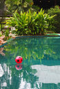 Red beach ball floating in pool Royalty Free Stock Image
