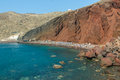 The Red Beach on Santorini island, Greece Stock Photos
