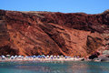 Red beach of santorini island greece seascape and Stock Photos
