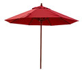 Red beach umbrella isolated on white clipping path included Royalty Free Stock Photo
