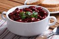 Red beans boiled with parsley in white bowl horizontal Royalty Free Stock Photo