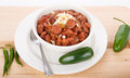 Red beans and rice with peppers a bowl of spicy green jalapeno Royalty Free Stock Photography