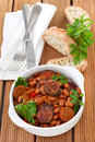 Red beans with sausages and sauce in the bowl Royalty Free Stock Image