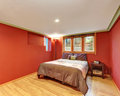 Red bedroom interior design in American bungalow Royalty Free Stock Photo