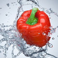 Red bell pepper in water Royalty Free Stock Photos