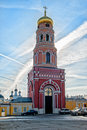 Red Bell tower of the ascension of David Desert Chekhov district of Russia, historical and cultural monuments of Royalty Free Stock Photo