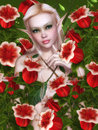 In red bells beautiful girl fairy fantasy Royalty Free Stock Photo