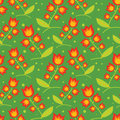 Red bells on medow seamless decorative pattern with green Royalty Free Stock Images