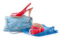 Red belt and shoes, a jeans bag and a skirt Royalty Free Stock Photos
