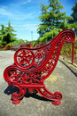 Red bench in park Royalty Free Stock Photography