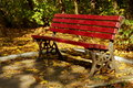 Autumn landscape. Red bench and colored leaves in a park. Tranquility. Autumn background
